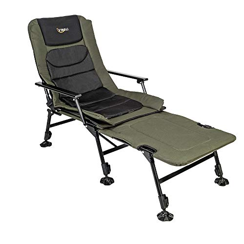 VINGLI Folding Fishing Chair Plus Foot Rest Attachment,Widen 48x22 inch XXL Size, 180° Adjustable Reclining Mesh Padded Back, Outdoor Hike/Beach Portable Stool, Support 350LBS, Xmax Gifts for Parent