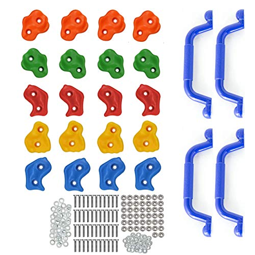 Premium 24 Piece Kids Rock Climbing Holds   20 Stones and 4 Mounted Safety Handles