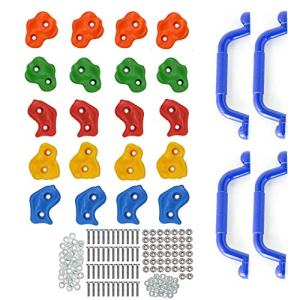 Premium 24 Piece Kids Rock Climbing Holds | 20 Stones and 4 Mounted Safety Handles