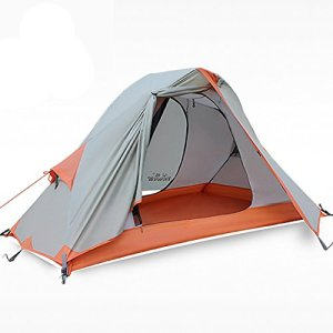 Hewolf 1 Person Tent - Waterproof Free-standing Best Solo Tent Windproof Durable Double Layer Single Man Tent for Backpacking
