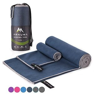 ARNUWA Microfiber Travel Towel Set - Quick Dry Ultra Absorbent Compact - Great for Camping, Hiking, Yoga, Sports, Swimming, Backpacking, Beach, Gym & Bath