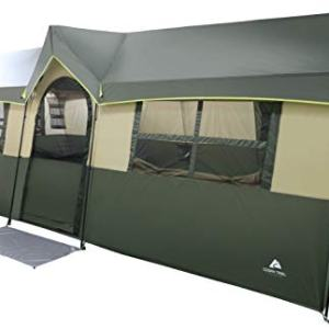 Spacious and Comfortable Ozark Trail Hazel Creek 12 Person Cabin Tent,with Two Closets with Hanging Organizers,Room Dividers,Mud Mat,E-Port and Rolling Storage Duffel for Convenience,Green