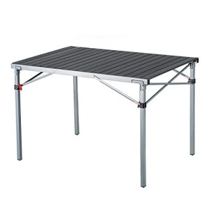 KingCamp Steel Frame Fold Camp Table Heavy Duty XL Aluminum Alloy Roll Up top Portable Stable Collapsible Supports 176lbs