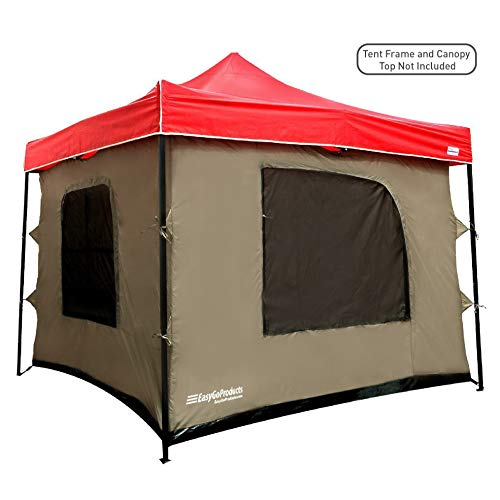 Camping Tent attaches to any 10'x10' Easy Up Pop Up Canopy Tent with 4 Walls, PVC Floor, 2 Doors and 4 Windows - solid Roof - Standing Tent - Family Room Tent - TENT FRAME AND CANOPY NOT INCLUDED