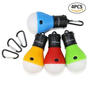 HZDone LED Camping Lantern [4 Pack] Portable Outdoor Tent Light Bulb for Camping Hiking Fishing Hurricane Storm Outage-Battery Powered Emergency Light [Red Blue Yellow Green Color Options]