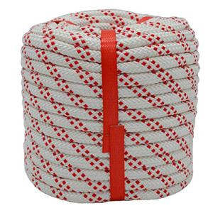 YUZENET Static Rock Climbing Rope 100 Feet 3/8 Inch Outdoor Safety Fire Escape Rope Rappelling Rope, White/Red
