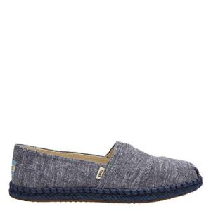 TOMS Women's Classic Slub Chambray Navy Ankle-High Canvas Slip-On Shoes - 8.5M