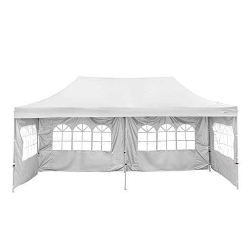 PUPZO Pop-Up Canopy Tent Gazebo 10x20 Portable Adjustable Carrying Bag Waterproof Party Camping Shelter Canopy (Whte with 4 sidewalls)