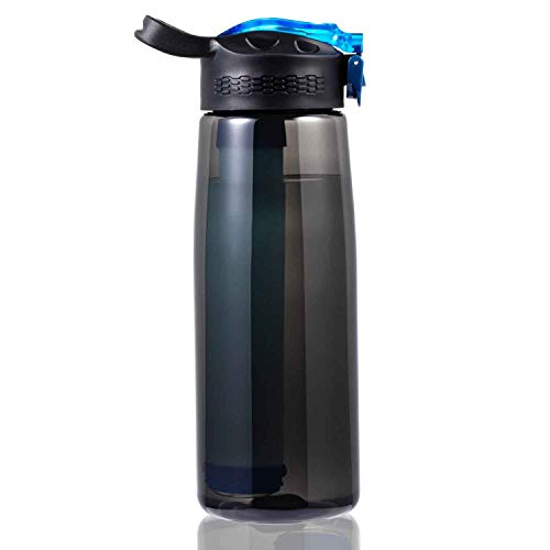 DoBrass Water Bottle with Filter for Travel, Camping, Hiking, Outdoor and Daily Use, Water Filtered Bottle, BPA Free and Leakproof, Black