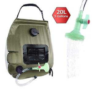 ELECTRFIRE Solar Shower Bag Camping Shower 5 Gallon with Removable Hose and On-Off Switchable Shower Head for Camping Beach Swimming Outdoor Traveling Hiking (Green)