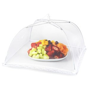 Mesh Outdoor Food Cover Tents (6 pack): Collapsible Umbrella Tents for Picnics, BBQ, Camping and Outdoor Cooking; Pop Up Screen Net and Plate Protector; Shields Food Plates and Glasses From Flies, Bugs