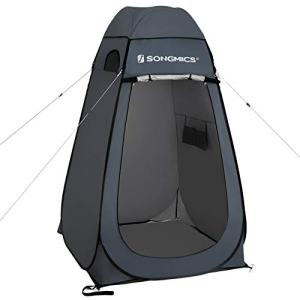 SONGMICS Pop up Tent, Privacy Shelter for Changing Room, Outdoor Camping Fishing Beach Shower Toilet, Portable, with Zippered Carrying Bag, Dark Gray UGPT01GY