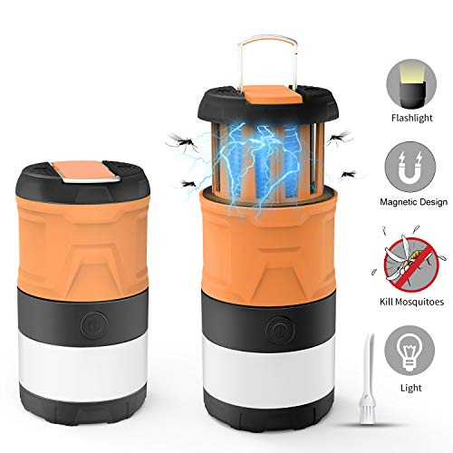 Camping Lantern Bug Zapper, Outdoor LED Camp Lamp, Magnetic Telescopic IPX4 Waterproof Flashlight, 3-in-1 Tent Light with 2000mAh Rechargeable Battery for Camping Outdoor Hiking Emergency Lighting