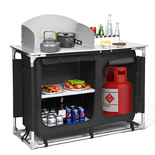 Giantex Portable Camping Kitchen Table, Camping Grill Table w/Windscreen and Storage Organizer, Outdoor Kitchen Cook Station with Basin for BBQ, Party, Picnics, Backyards, BBQ Table (Black)