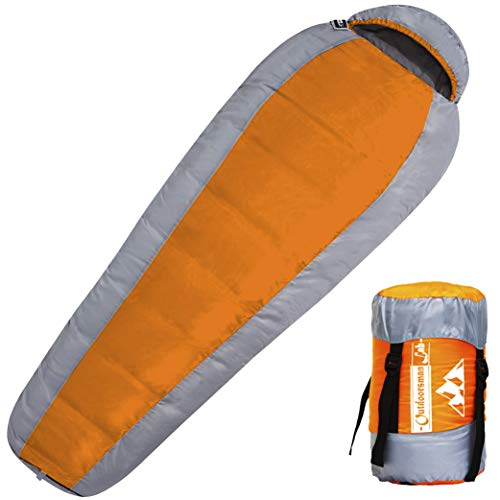 Outdoorsman Lab Mummy Sleeping Bag for Adults and Kids - All Seasons Ultralight (2.9 Lbs) - Compact, Portable Cold Weather Sleep Bag for Backpacking, Hiking, Camping, Travel - with Compression Sack