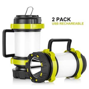 Lantern Flashlights with 4000mAh Power Bank, Red Strobe Light for Emergency, 800 Lumens, USB Rechargeable, 6 Lighting Modes, Kamspark LED Lantern for Camping, Fishing, Searching, Hiking (2 Pack)