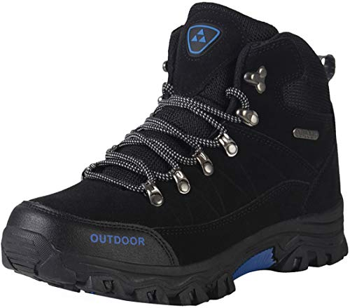 Men's Hiking Boots Waterproof Lightweight Insulated Hiker Anti Slip Outdoor Camping Autumn Winter Trail Sneaker Easy On and Off (9, Black)