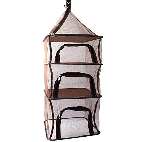 Camping Dry Net-4 Layer Outdoor Hanging Foldable Drying Rack, Camping Organizer Mesh Dryer Storage for Home Picnic BBQ Tableware/Dishes/Food/Vegetables/Fruit/Clothing