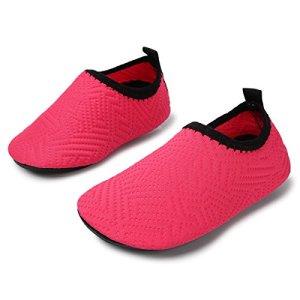 JIASUQI Baby Casual Sneakers Water Skin Shoes for Beach River Camping,Peach Dot 18-24 Months