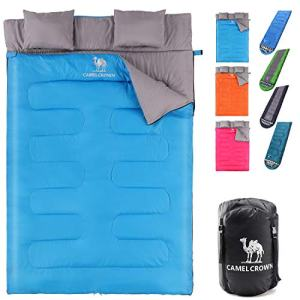 CAMEL CROWN Double Sleeping Bag for Backpacking, Camping, Hiking 2 Person Waterproof Lightweight Sleeping Bag for Truck, Tent, Or Sleeping Pad