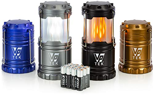 VP TEK Dual Function Collapsible LED Camping Lanterns with Flickering Flame Light and Bright LED Light (Pack of 4) (Black, Metallic Copper, Cobalt Blue & Metallic Silver)
