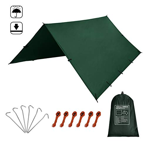 KALINCO 10X15FT tarp Tent,Picnic mat tarp Tent Days Exchange Service Warranty, pu Waterproof Camping tarp Tent rain Fly Picnic mat Survival shelter Sunshade (Green)