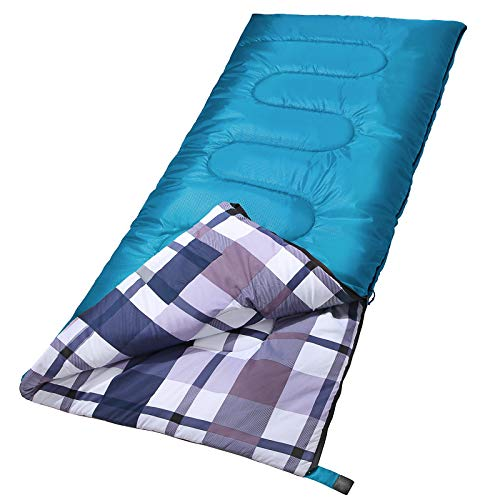 SONGMICS Sleeping Bag, 3-Season Outdoor Camping, for Adults (Blue)