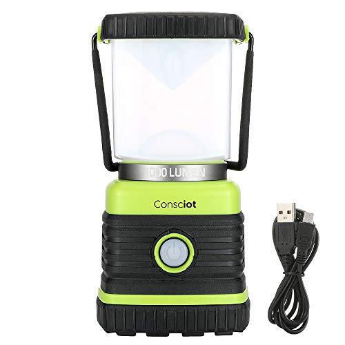 Consciot LED Camping Lantern Rechargeable, 4400mAh Power Bank, Dimmable with 1000LM, 4 Light Modes, IPX4 Water Resistant, Portable for Camping, Hiking, Emergency, Power Outage, USB Cable Included