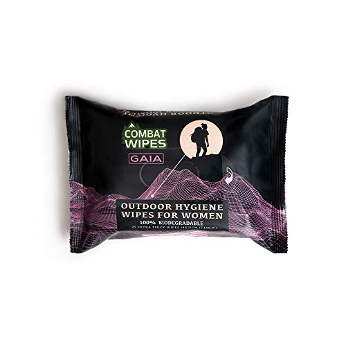 Combat Wipes Gaia Feminine Hygiene Outdoor Wet Wipes   Extra Thick, Ultralight, Biodegradable, pH Balanced Body and Hand Cleansing Cloths for Women w/Aloe (25 Pack).
