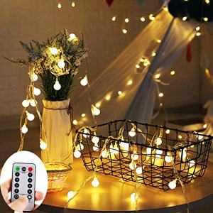 ZOUTOG Battery Operated String Lights, 33ft/10m 100 LED Bulb Warm White Globe String Lights with Remote Controller, Decorative Timer Fairy Light for Christmas/Wedding/Party Indoor and Outdoor