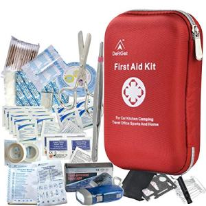 First Aid Kit - 163 Piece Waterproof Portable Essential Injuries and Red Cross Medical Emergency Equipment Kits : for Car Kitchen Camping Travel Office Sports and Home