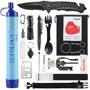 SUPOLOGY Camping Accessories Survival Gear Kits, 23-in-1 Tactical Equipments Outdoor Gear with Water Filter for Camping, Hiking, Adventures, Backpack, Fishing, Hurricane, Gifts for Men Fathers Day