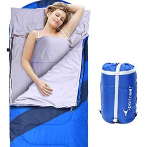 Sportneer Sleeping Bag Portable Large Sleeping Bags with Detachable Zipper Liner for Camping, Hiking, Backpacking (Blue)