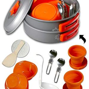Gear4U: Best BPA-FREE Camping Cookware Set - Mess Kit - 13 Pieces including Free Bonus - Non-Stick Anodized Aluminum - Complete Lightweight Folding Kit for Camping Hiking and Backpacking Outdoor Cooking