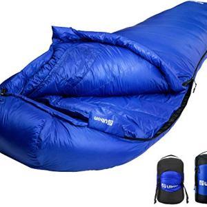 Ubon Extreme 10 Degree F 650 Fill Power Down Sleeping Bag Waterproof Mummy Sleeping Bag for Adults, Ultralight Camping Sleeping Bag Blue