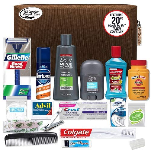 Convenience Kits Men's Premium 20 Count Necessities Travel Kit, Featuring: Dove Men and Care Products