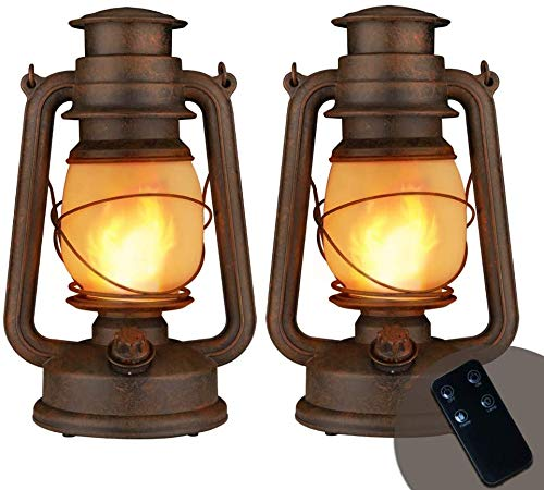 Yinuo Candle Flame Light Vintage Lantern, Flickering Camping Lantern Tent Light with Two Models LED Night Lights Decor for Patio Garden Party Outdoor or Indoor with Remote Control Battery Operated