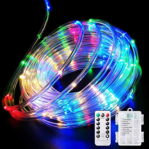 LED Rope Lights Battery Operated String Lights-40Ft 120 LEDs 8 Modes Outdoor Waterproof Fairy Lights Dimmable/Timer with Remote for Garden Camping Party Decoration (Multi-Color) (1pack)
