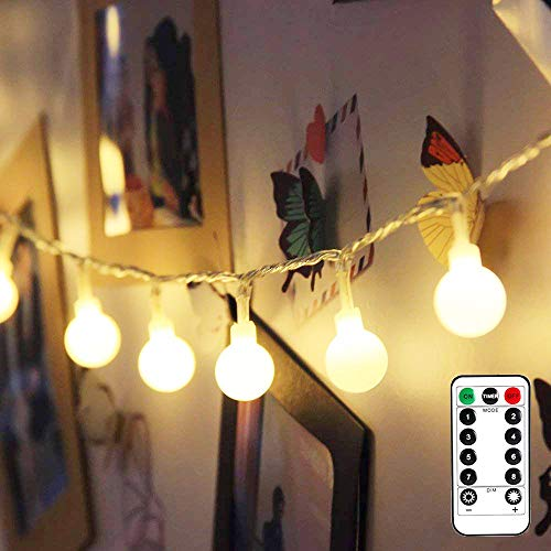 LE Globe String Lights, Battery Powered, Ball String Lights with Remote, Timer and 8 Modes, 16.4ft 50 LED, Indoor Outdoor Decorative Fairy Lights for Bedroom, Patio, Christmas and More (Warm White)
