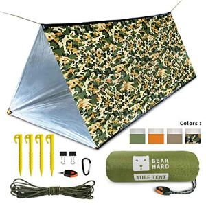 Bearhard Emergency Tube Tent Lightweight Compact Rescue Large PE Foil Survival Tent Shelter for Camping, Hiking, Outdoor, NASA, Survival or First Aid
