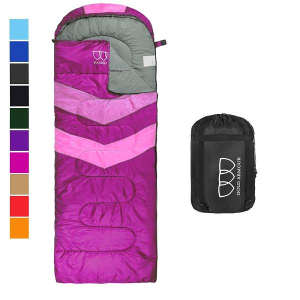Gold Armour Sleeping Bag for Indoor and Outdoor Use - Great for Kids, Boys, Girls, Adults, Ultralight for Sleepover, Backpacking, Camping Gear Accessory (Fuchsia/Pink - Left Zipper)