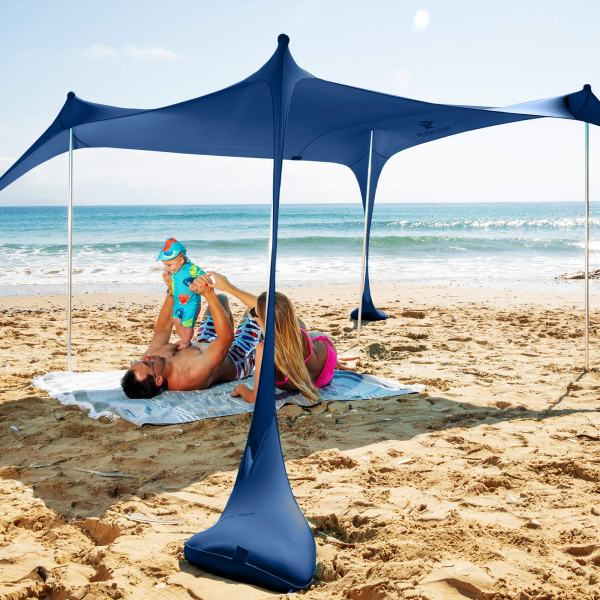 SUN NINJA Pop Up Beach Tent Sun Shelter with Sand Shovel, Ground Pegs,and Stability Poles, Outdoor Shade for Camping Trips, Fishing, Backyard Fun or Picnics (10x10FT 4 Pole, Navy)