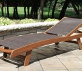 Eucalyptus Hardwood Brown Sling Chaise Lounge Chair