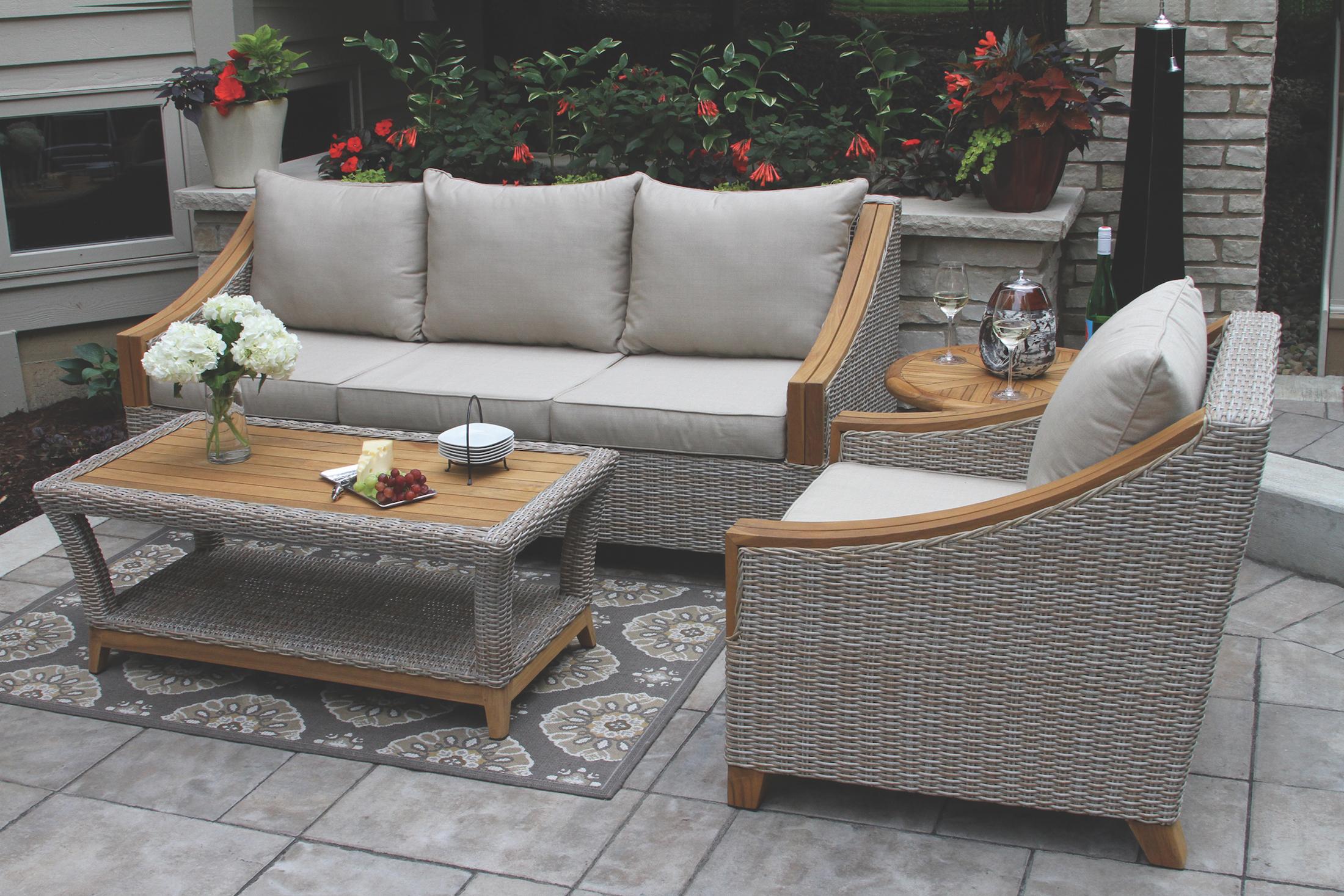 Wicker Amp Natural Teak Wood Sofa With Sunbrella Cushions