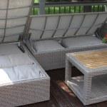 3pc Teak Ash Wicker Sectional Sofa Set With Waterproof Storage