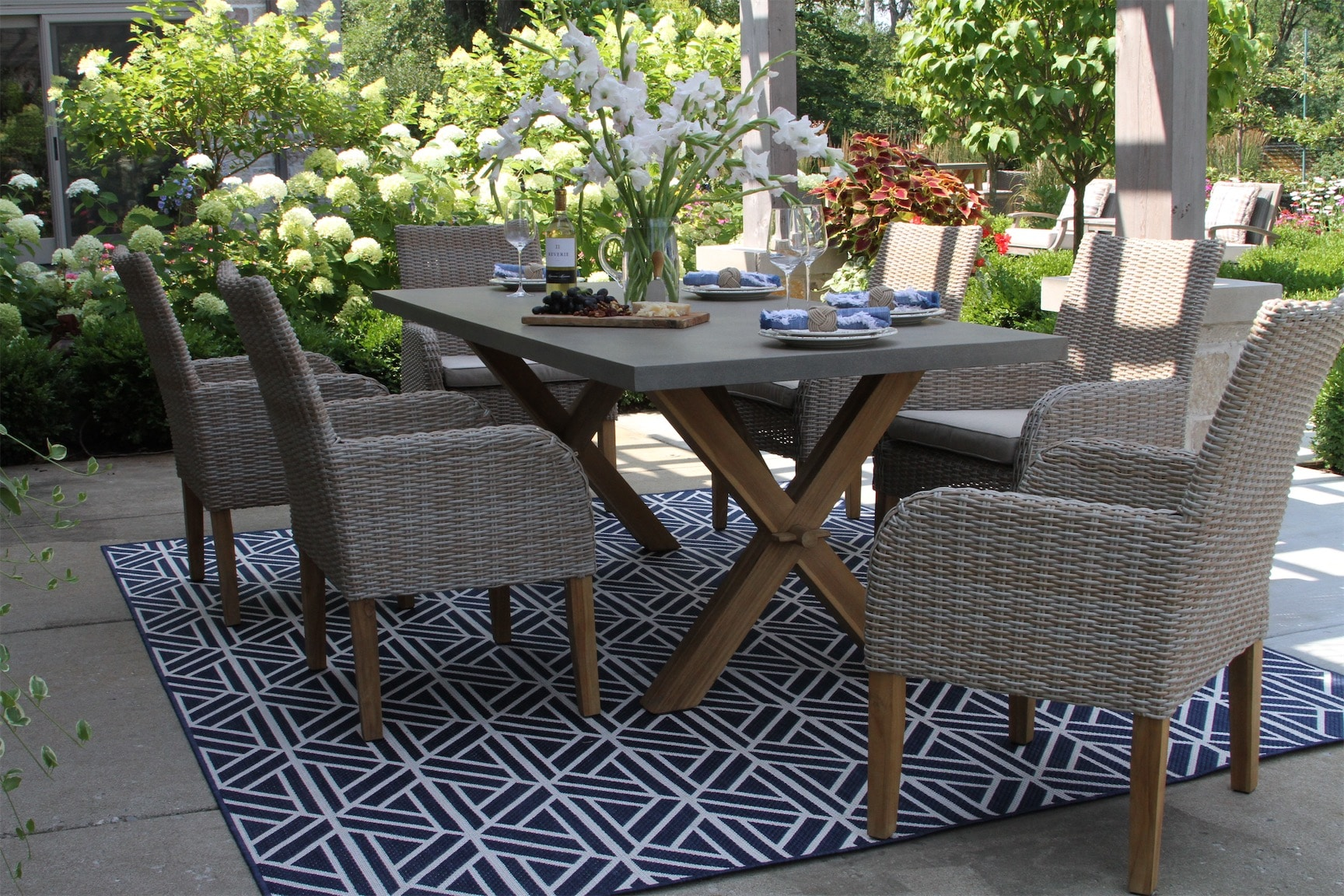 Composite Rectangle Dining Table With Trestle Teak Wood Base