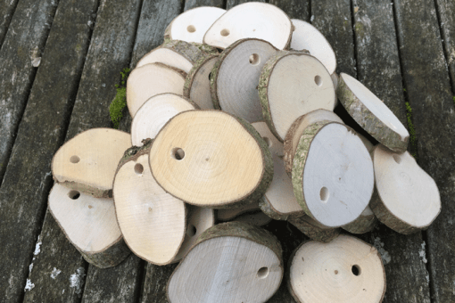 100 Small Drilled Wood Cookies