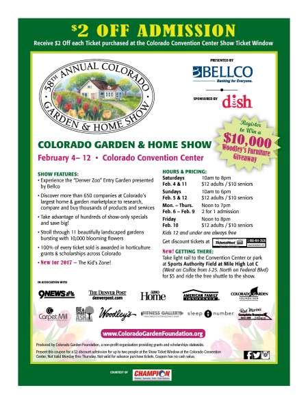 Discount Tickets To The Colorado Garden Home Show Outdoor - Home and garden show coupons