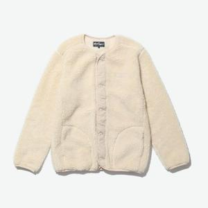 [WILD THINGS] FLUFFY BOA NO COLLAR JACKET 絨毛鈕扣外套/米白 (WT21125N)