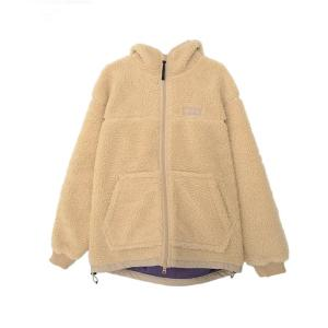 [WILD THINGS] FLUFFY BOA ZIP HOODY 絨毛連帽長袖保暖外套/米白 (WT21123N)